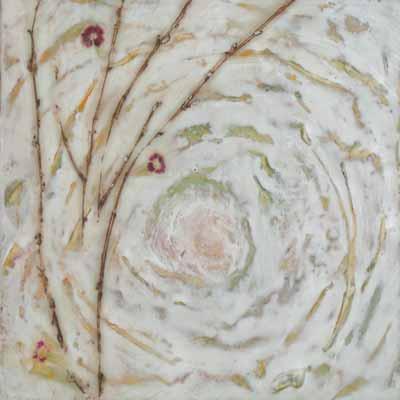 Bloom, 12″ x 12″, Encaustic, mixed media