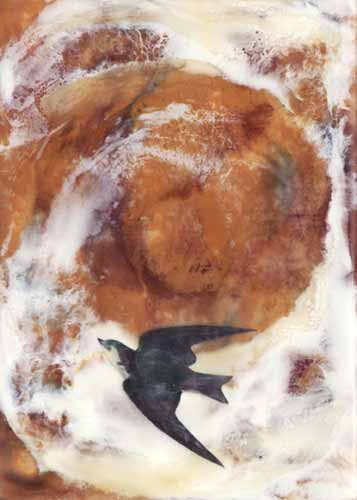 Rise, 5″ x 7″, Encaustic and mixed media