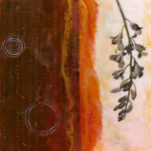"A New Day, 2007, Encaustic and Mixed media, 12"" x 12"""