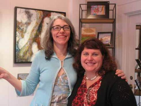 Gallery owner Kimberly Kent and I sampled a little wine as we set up
