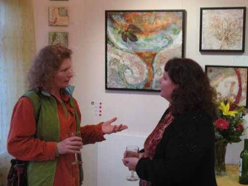 Marcy Baker and I discussing a painting