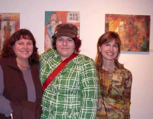 Me, Amy Stoner and Sheary, with her paintings in the background