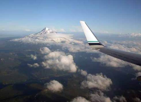 Seeing Mt. Hood from the plane always signals that we're home