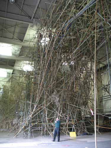 Their installation, Big Bambu, fills their huge warehouse studio