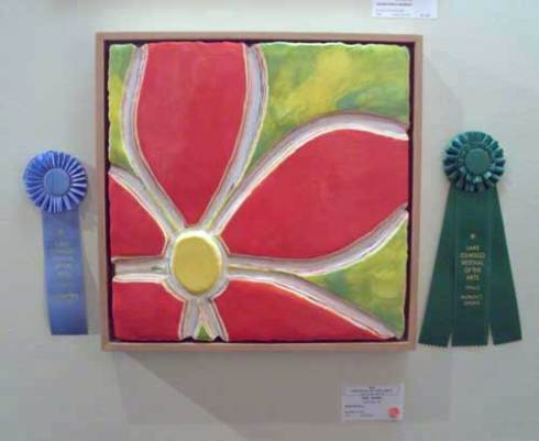 "Committee Award, Karl Kaiser, Red Petals, 18"" x 18"". This same work also won the Patron's Choice Award."