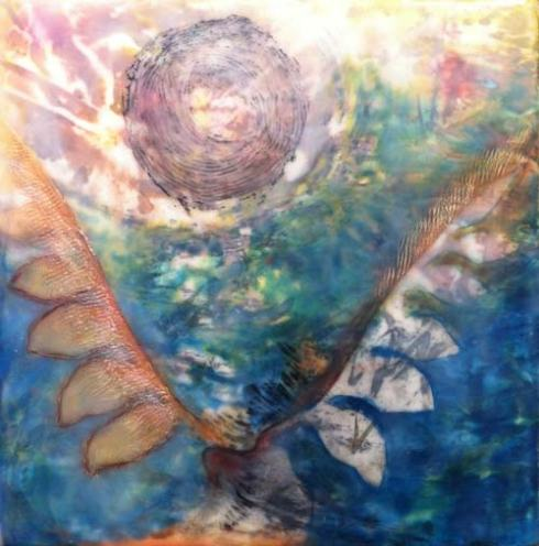 Emerging From Darkness, Encaustic & Mixed Media, by Linda Robertson