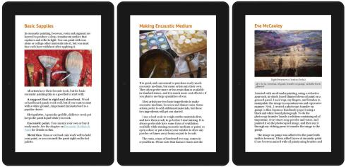 Here are a few screen shots from the eBook version of Embracing Encaustic: Learning to Paint with Beeswax