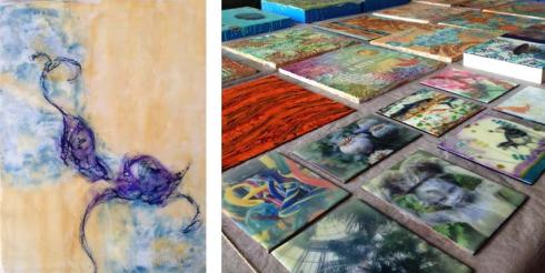 Mixed media painting by Debra and just a few of the pieces made during one 5-day class!