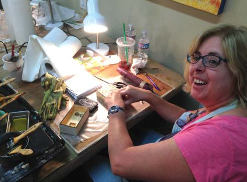 Pam working on her story box