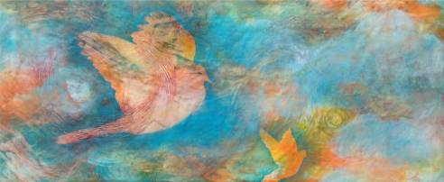 Moments of Surrender, 12 x 28 in., encaustic and mixed media