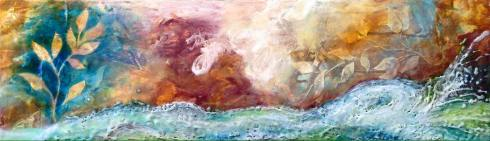 "Gathering Strength, 14"" x 48"" mixed media and encaustic, SOLD"